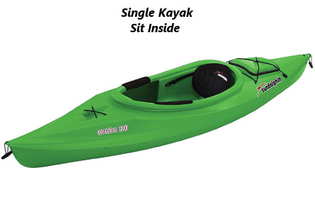 single kayak sit inside